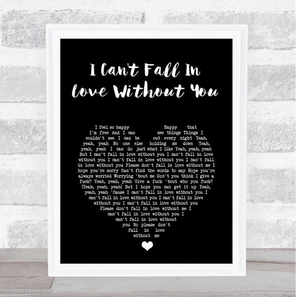 Zara Larsson I Can't Fall In Love Without You Black Heart Song Lyric Print