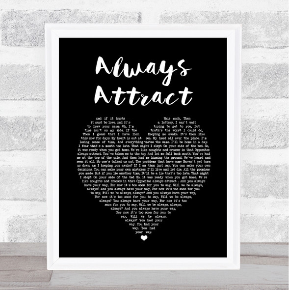 You Me At Six Always Attract Black Heart Song Lyric Print