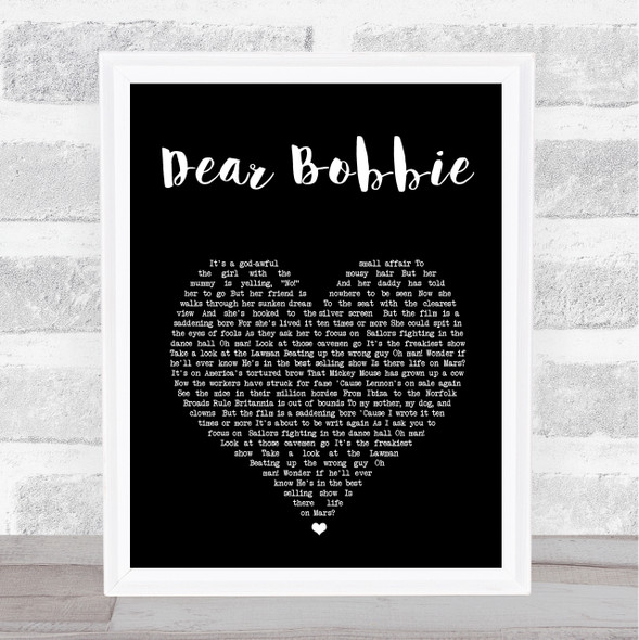Yellowcard Dear Bobbie Black Heart Song Lyric Print