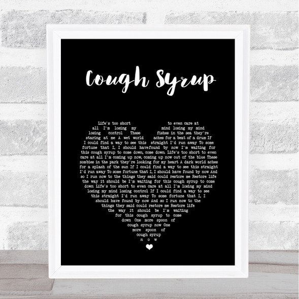 Young The Giant Cough Syrup Black Heart Song Lyric Print