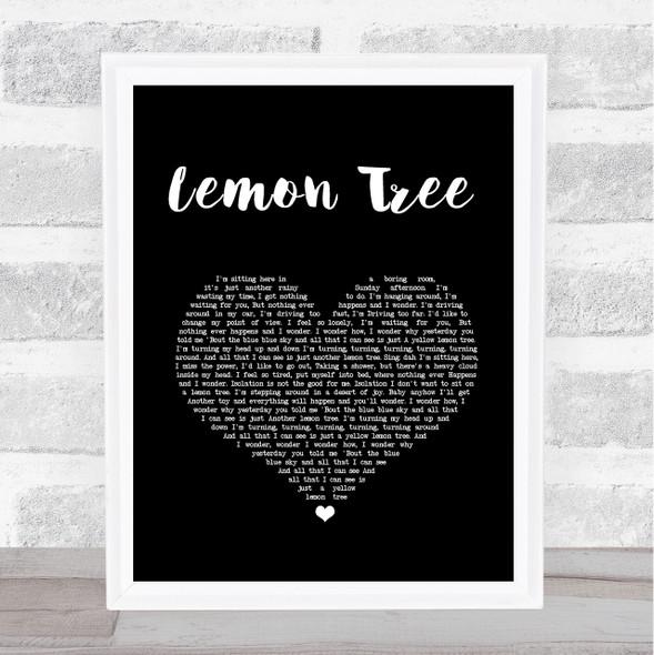 Fool's Garden Lemon Tree Black Heart Song Lyric Print