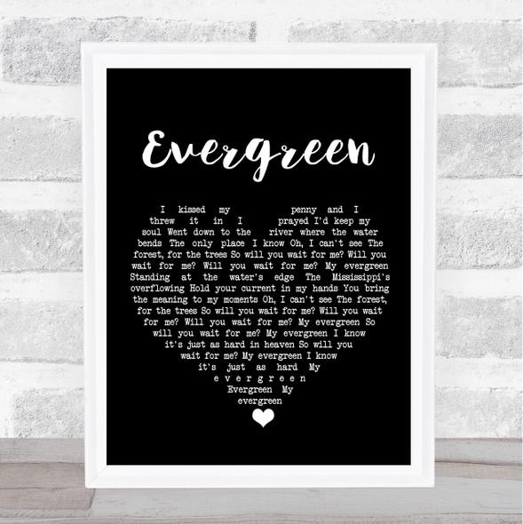 YEBBA Evergreen Black Heart Song Lyric Print