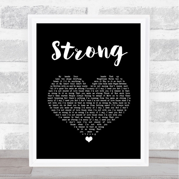 One Direction Strong Black Heart Song Lyric Print