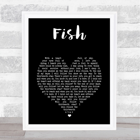 13th Star Fish Black Heart Song Lyric Print