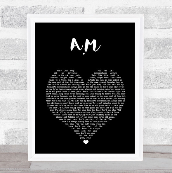 One Direction A.M Black Heart Song Lyric Print