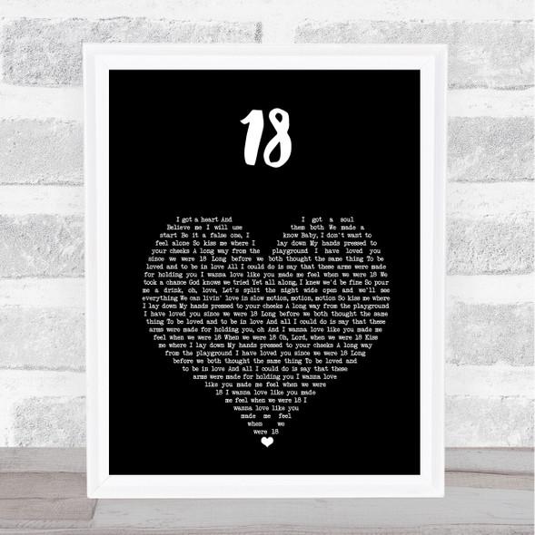 One Direction 18 Black Heart Song Lyric Print