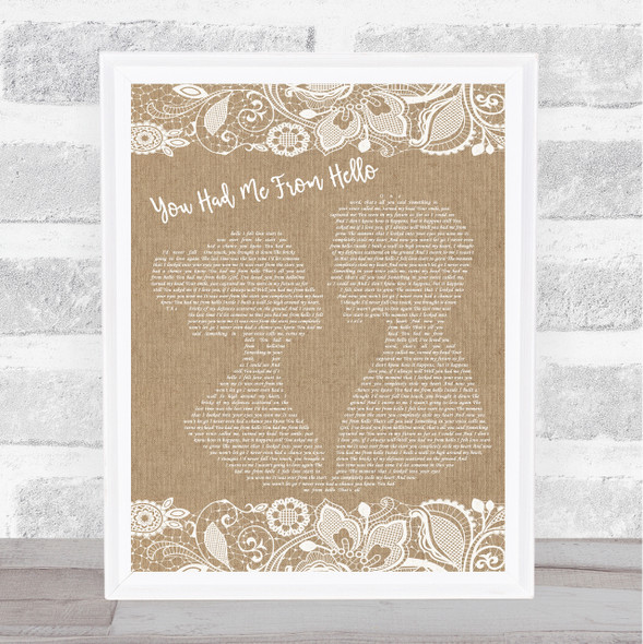 Kenny Chesney You Had Me From Hello Burlap & Lace Song Lyric Print