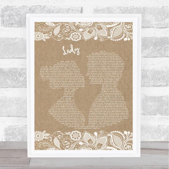 Kenny Rogers Lady Burlap & Lace Song Lyric Print