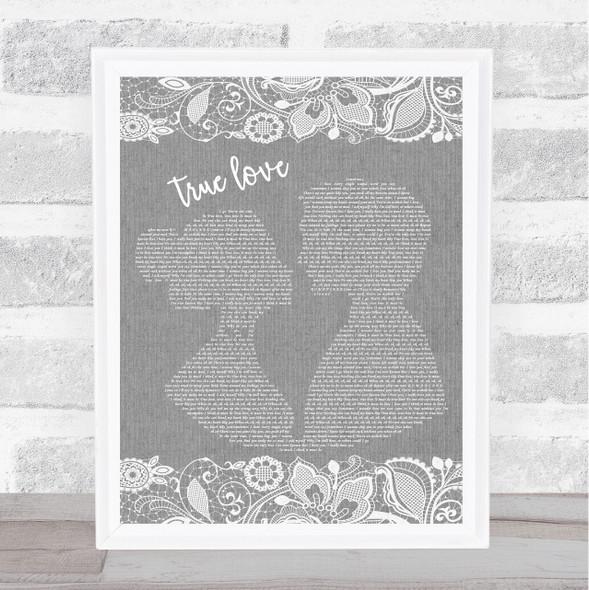 P!nk ft. Lily Allen True Love Grey Burlap & Lace Song Lyric Print