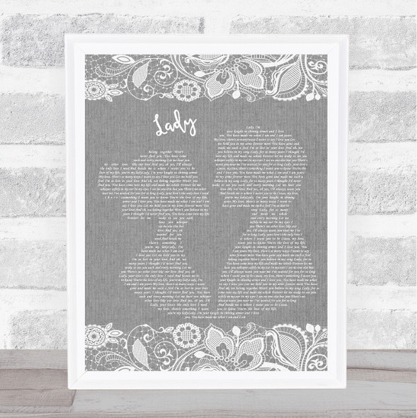 Kenny Rogers Lady Grey Burlap & Lace Song Lyric Print