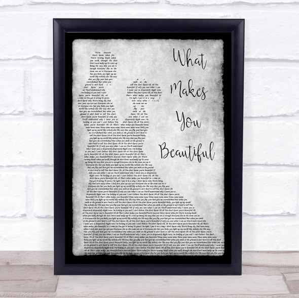 One Direction What Makes You Beautiful Grey Man Lady Dancing Song Lyric Print