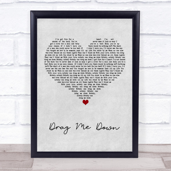 One Direction Drag Me Down Grey Heart Song Lyric Print