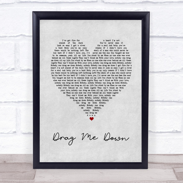 One Direction Drag Me Down Grey Heart Song Print