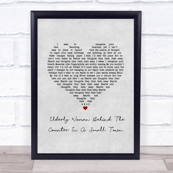 Pearl Jam Elderly Woman Behind The Counter In A Small Town Grey Heart Song Lyric Print