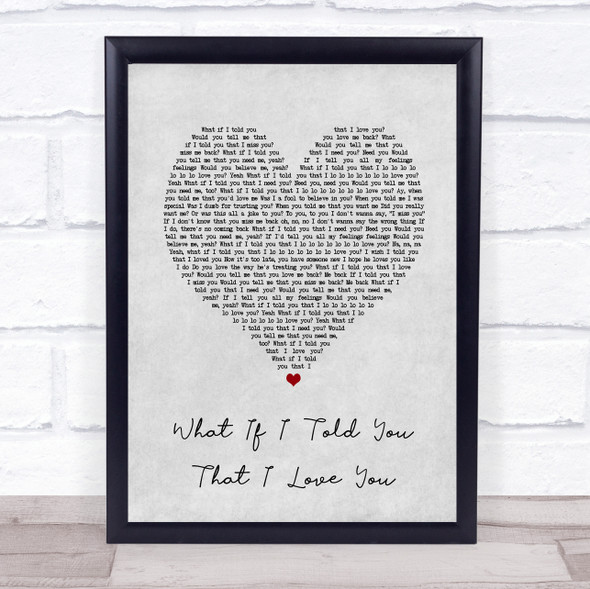 Ali Gatie What If I Told You That I Love You Grey Heart Song Lyric Print