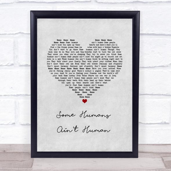 John Prine Some Humans Ain't Human Grey Heart Song Lyric Print