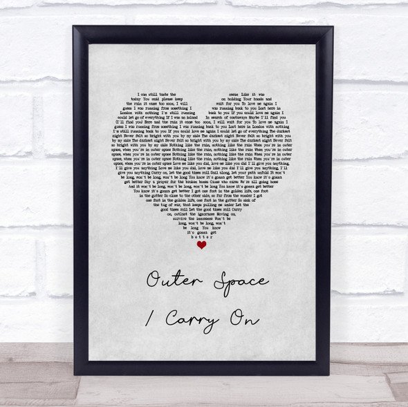 5 Seconds of Summer Outer Space Carry On Grey Heart Song Lyric Print