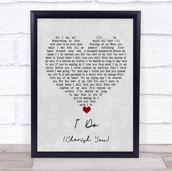 98 Degrees I Do (Cherish You) Grey Heart Song Lyric Print