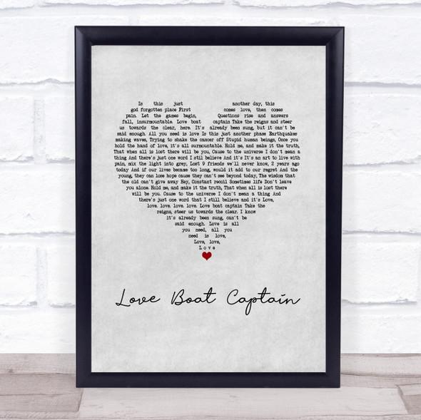 Pearl Jam Love Boat Captain Grey Heart Song Lyric Print
