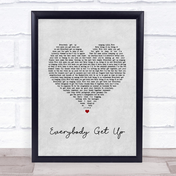 5ive Everybody Get Up Grey Heart Song Lyric Print