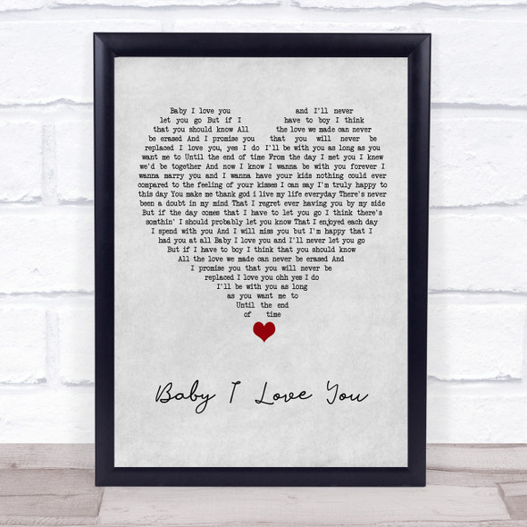 1st Lady Baby I Love You Grey Heart Song Lyric Print