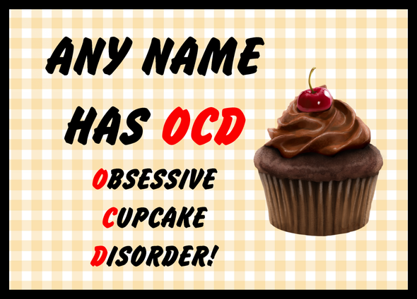 Funny Obsessive Disorder Cupcake Yellow Personalised Dinner Table Placemat