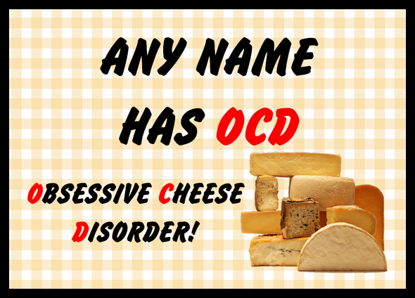 Funny Obsessive Disorder Cheese Yellow Personalised Dinner Table Placemat