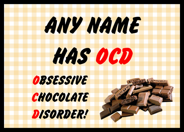 Funny Obsessive Disorder Chocolate Yellow Personalised Dinner Table Placemat