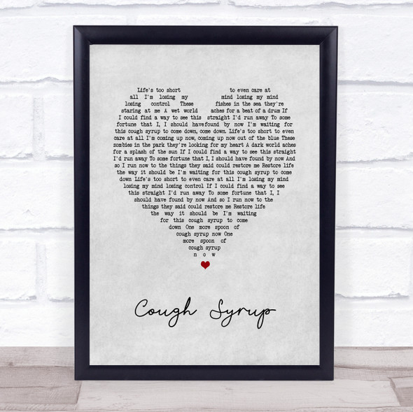 Young The Giant Cough Syrup Grey Heart Song Lyric Print