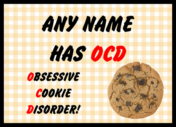 Funny Obsessive Disorder Cookie Yellow Personalised Dinner Table Placemat