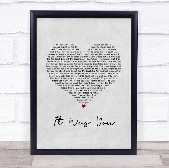 12 Stones It Was You Grey Heart Song Lyric Print