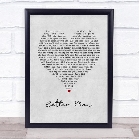 Pearl Jam Better Man Grey Heart Song Lyric Print