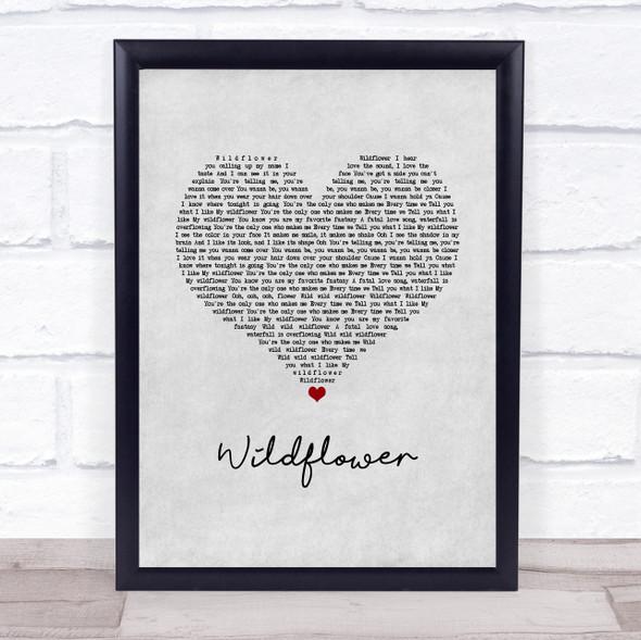 5 Seconds Of Summer Wildflower Grey Heart Song Lyric Print