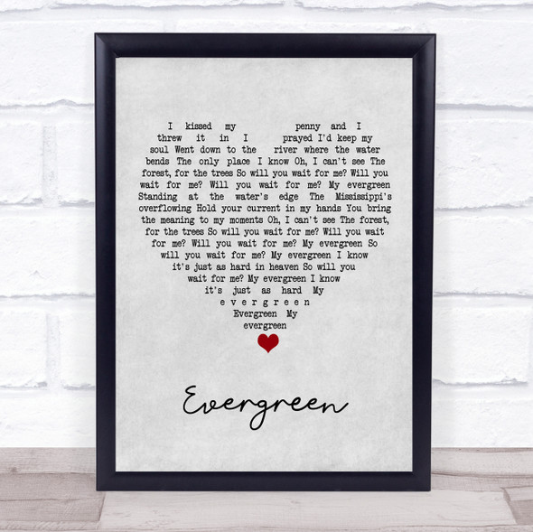 YEBBA Evergreen Grey Heart Song Lyric Print