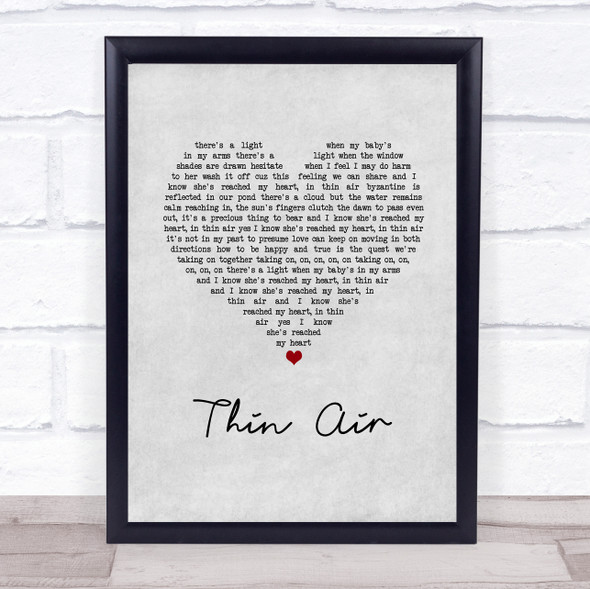 Pearl Jam Thin Air Grey Heart Song Lyric Print