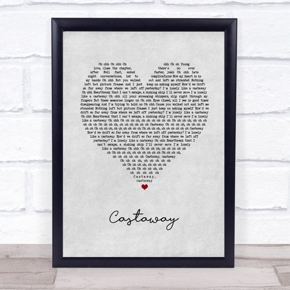 5 Seconds Of Summer Castaway Grey Heart Song Lyric Print