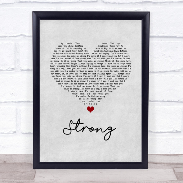 One Direction Strong Grey Heart Song Lyric Print