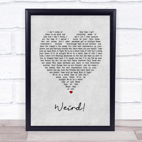 YUNGBLUD Weird! Grey Heart Song Lyric Print