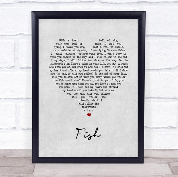 13th Star Fish Grey Heart Song Lyric Print