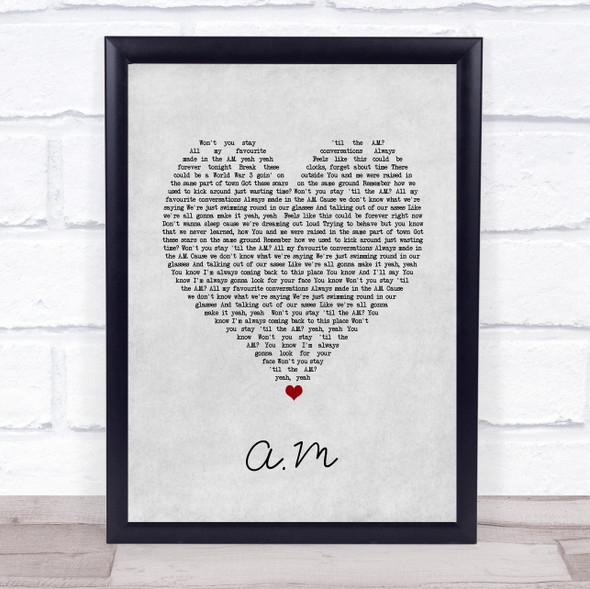 One Direction A.M Grey Heart Song Lyric Print