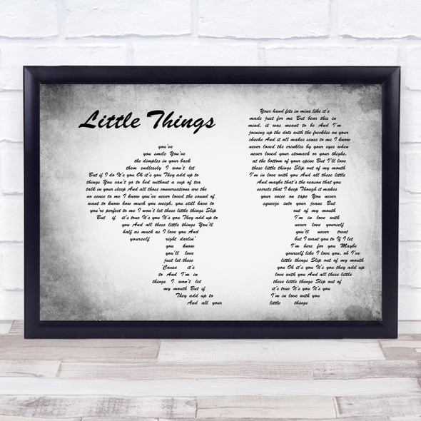 One Direction Little Things Man Lady Couple Grey Song Lyric Print