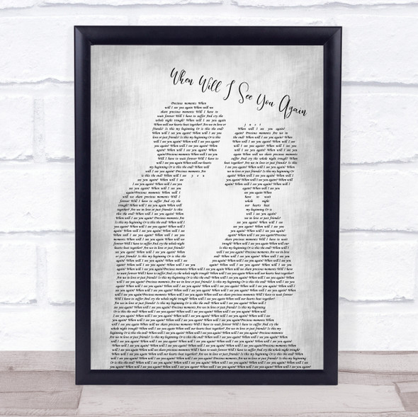 The Three Degrees When Will I See You Again Man Lady Bride Groom Wedding Grey Song Lyric Print
