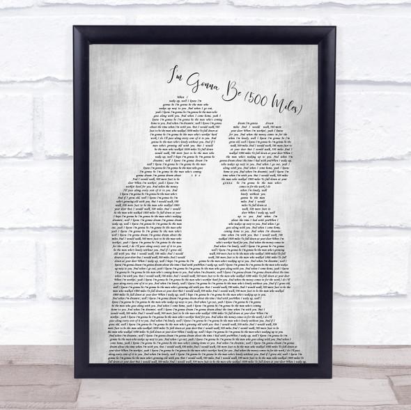 Sleeping At Last I'm Gonna Be 500 Miles Man Lady Bride Groom Wedding Grey Song Lyric Print