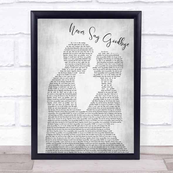Bon Jovi Never Say Goodbye Man Lady Bride Groom Wedding Grey Song Lyric Print