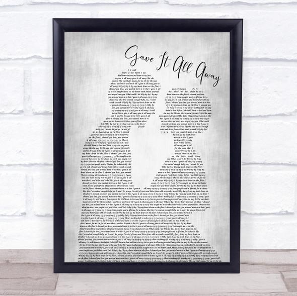 Boyzone Gave It All Away Man Lady Bride Groom Wedding Grey Song Lyric Print