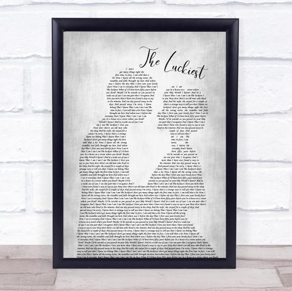 Ben Folds The Luckiest Man Lady Bride Groom Wedding Grey Song Lyric Print