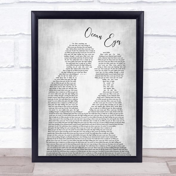 Billie Eilish Ocean Eyes Man Lady Bride Groom Wedding Grey Song Lyric Print