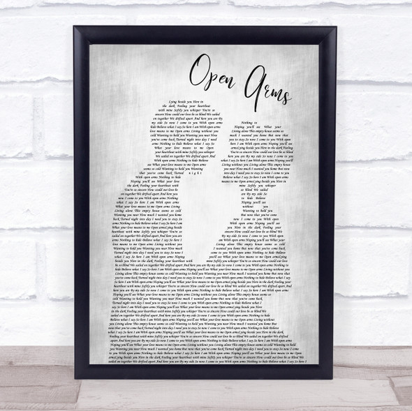 Journey Open Arms Man Lady Bride Groom Wedding Grey Song Lyric Print