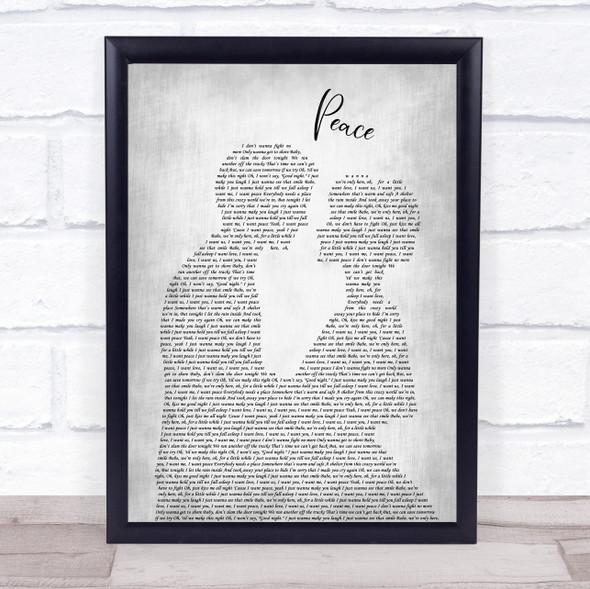 O.A.R. Peace Man Lady Bride Groom Wedding Grey Song Lyric Print