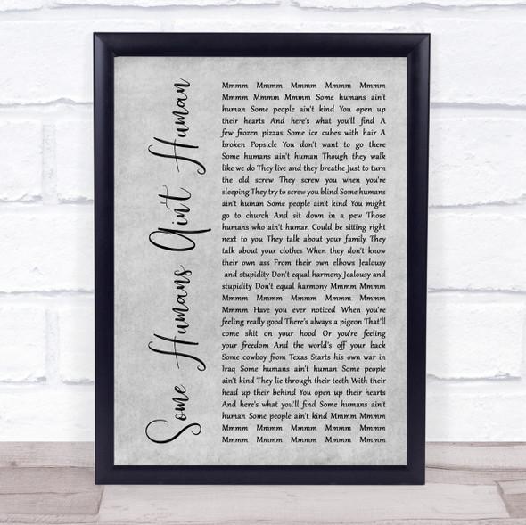 John Prine Some Humans Ain't Human Grey Rustic Script Song Lyric Print